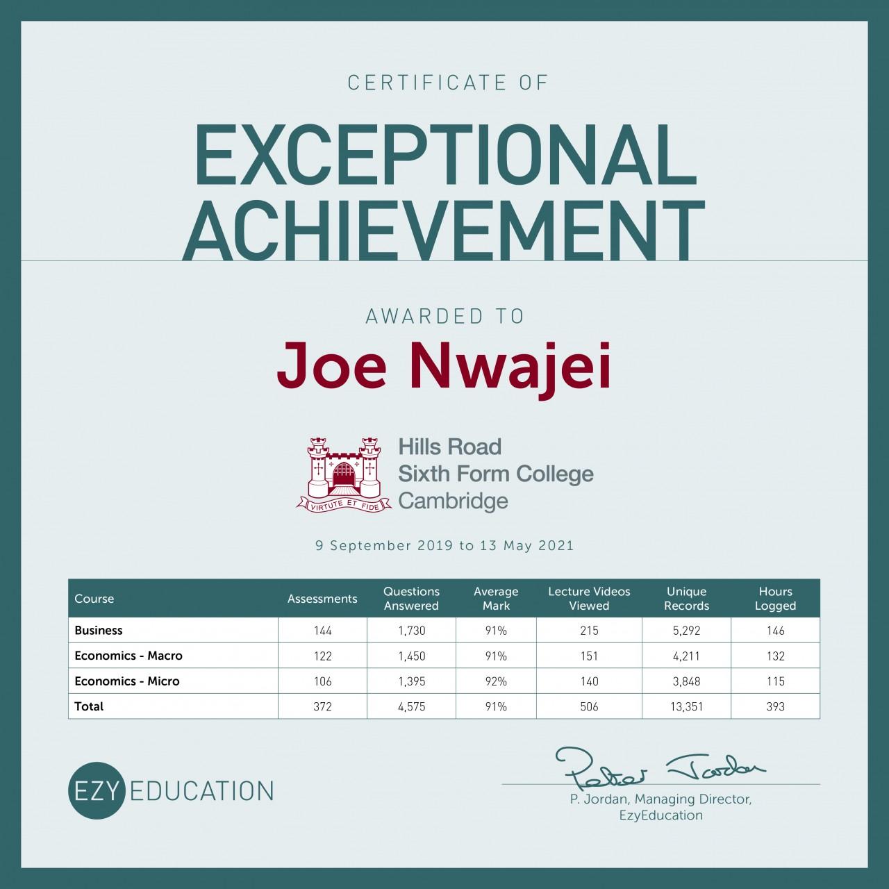 Student Profile - Joe Nwajei - Hills Road Sixth Form College
